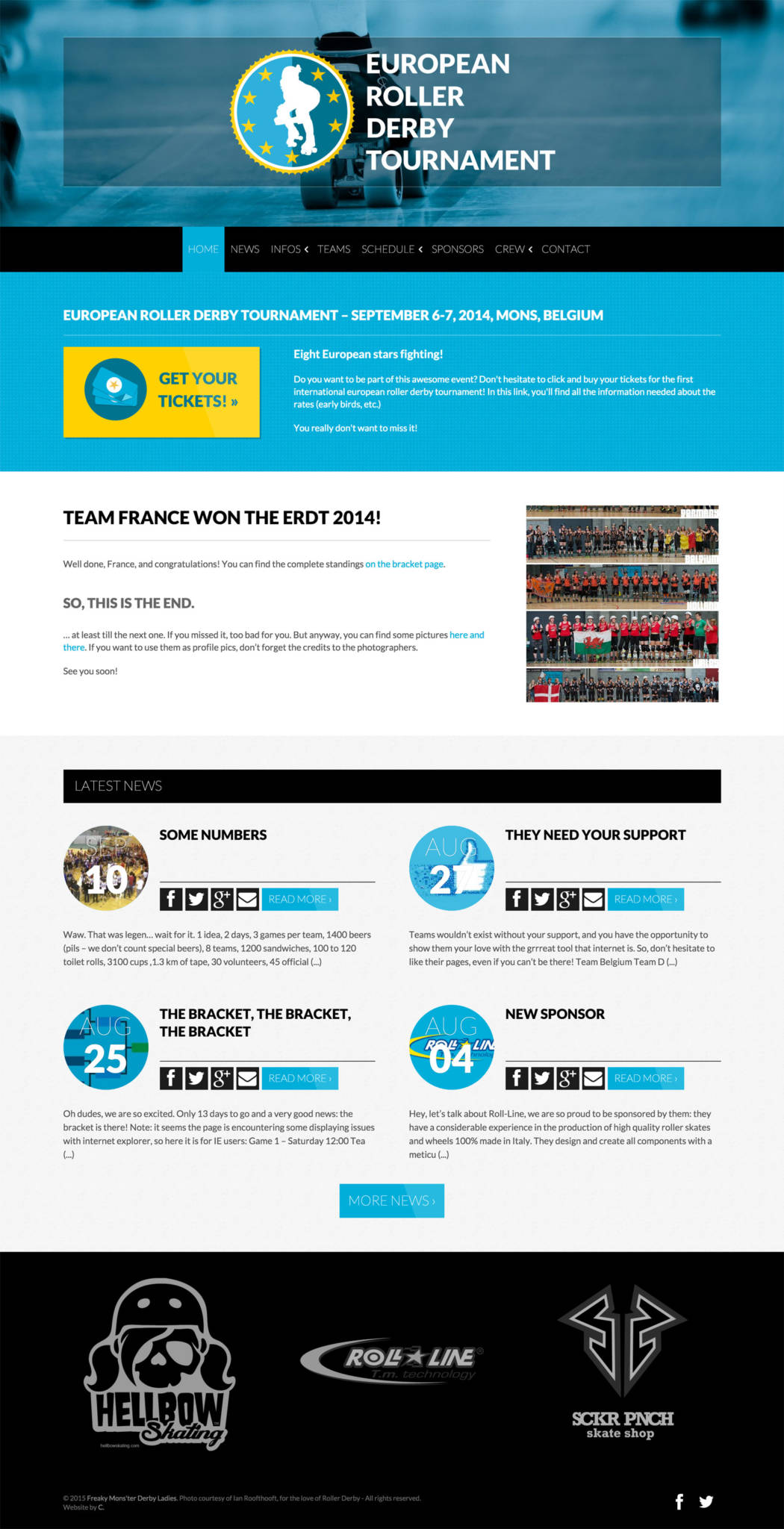 European roller derby tournament website - desktop