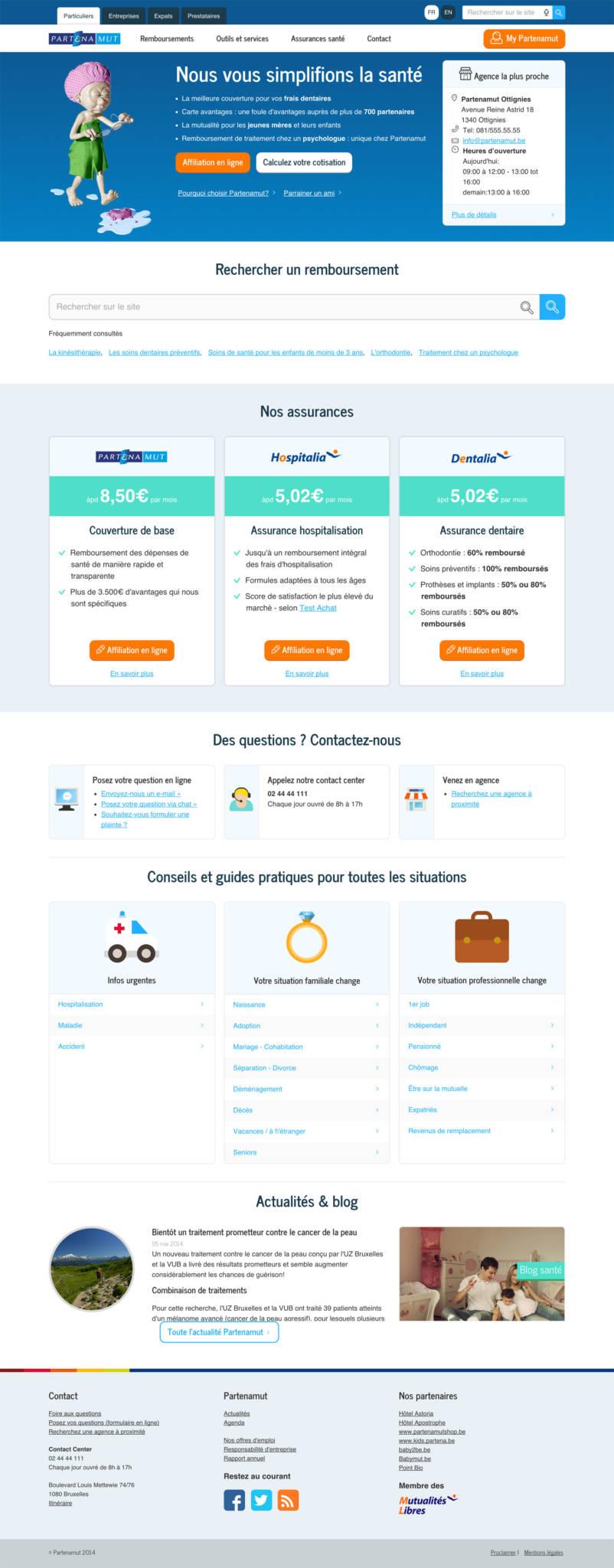 Partenamut website integration - Desktop view